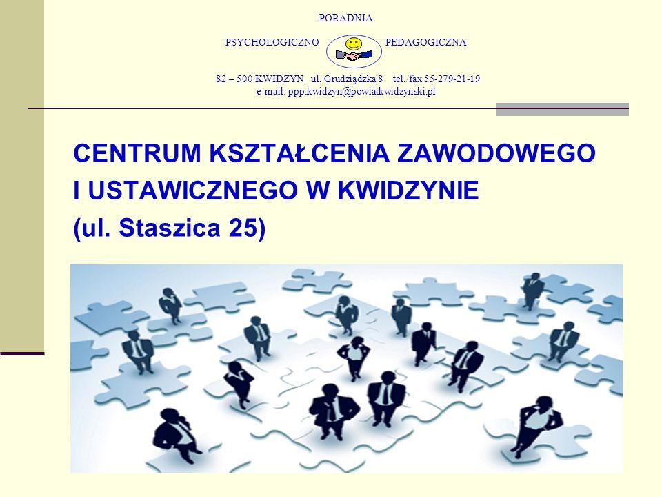 PORADNIA PSYCHOLOGICZNO PEDAGOGICZNA 82 – 500 KWIDZYN ul. Grudziądzka 8 tel./fax 55-279-21-19 e-mail: ppp.kwidzyn@powiatkwidzynski.pl CENTRUM KSZTAŁCE
