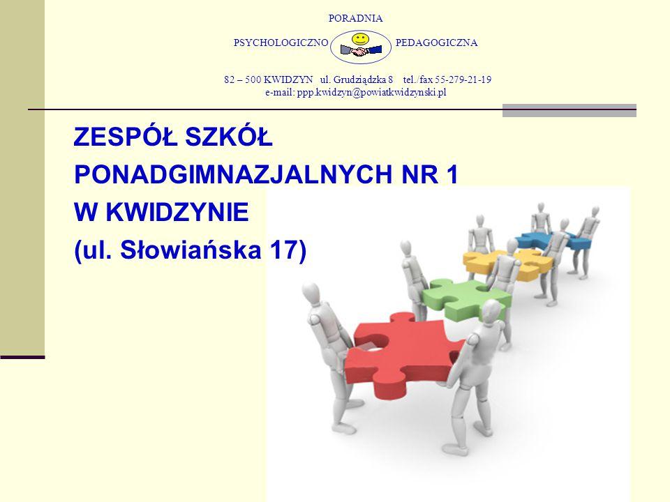 PORADNIA PSYCHOLOGICZNO PEDAGOGICZNA 82 – 500 KWIDZYN ul. Grudziądzka 8 tel./fax 55-279-21-19 e-mail: ppp.kwidzyn@powiatkwidzynski.pl ZESPÓŁ SZKÓŁ PON