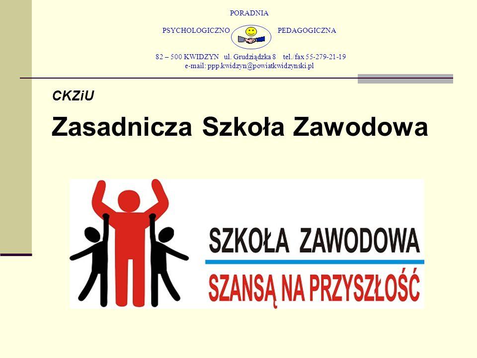 PORADNIA PSYCHOLOGICZNO PEDAGOGICZNA 82 – 500 KWIDZYN ul. Grudziądzka 8 tel./fax 55-279-21-19 e-mail: ppp.kwidzyn@powiatkwidzynski.pl CKZiU Zasadnicza