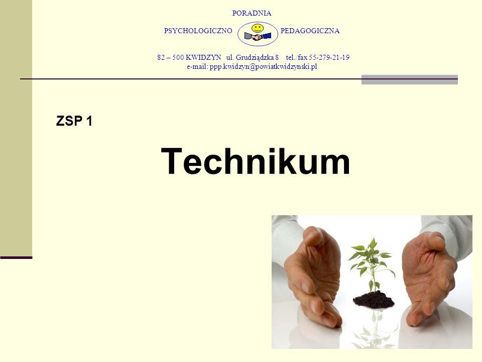 PORADNIA PSYCHOLOGICZNO PEDAGOGICZNA 82 – 500 KWIDZYN ul. Grudziądzka 8 tel./fax 55-279-21-19 e-mail: ppp.kwidzyn@powiatkwidzynski.pl ZSP 1 Technikum