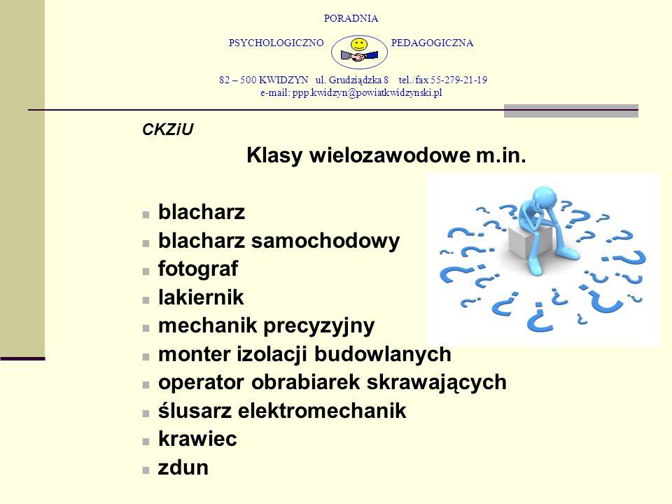 PORADNIA PSYCHOLOGICZNO PEDAGOGICZNA 82 – 500 KWIDZYN ul. Grudziądzka 8 tel./fax 55-279-21-19 e-mail: ppp.kwidzyn@powiatkwidzynski.pl CKZiU Klasy wiel