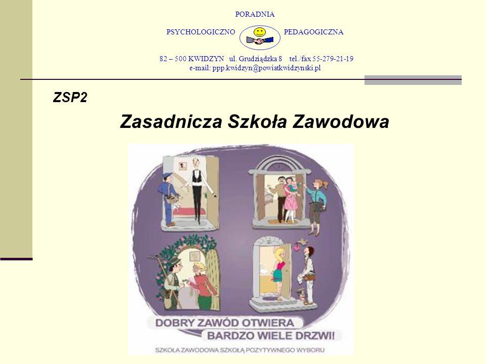 PORADNIA PSYCHOLOGICZNO PEDAGOGICZNA 82 – 500 KWIDZYN ul. Grudziądzka 8 tel./fax 55-279-21-19 e-mail: ppp.kwidzyn@powiatkwidzynski.pl ZSP2 Zasadnicza