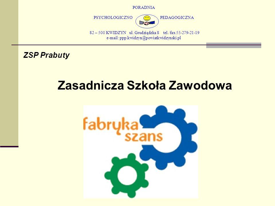 PORADNIA PSYCHOLOGICZNO PEDAGOGICZNA 82 – 500 KWIDZYN ul. Grudziądzka 8 tel./fax 55-279-21-19 e-mail: ppp.kwidzyn@powiatkwidzynski.pl ZSP Prabuty Zasa