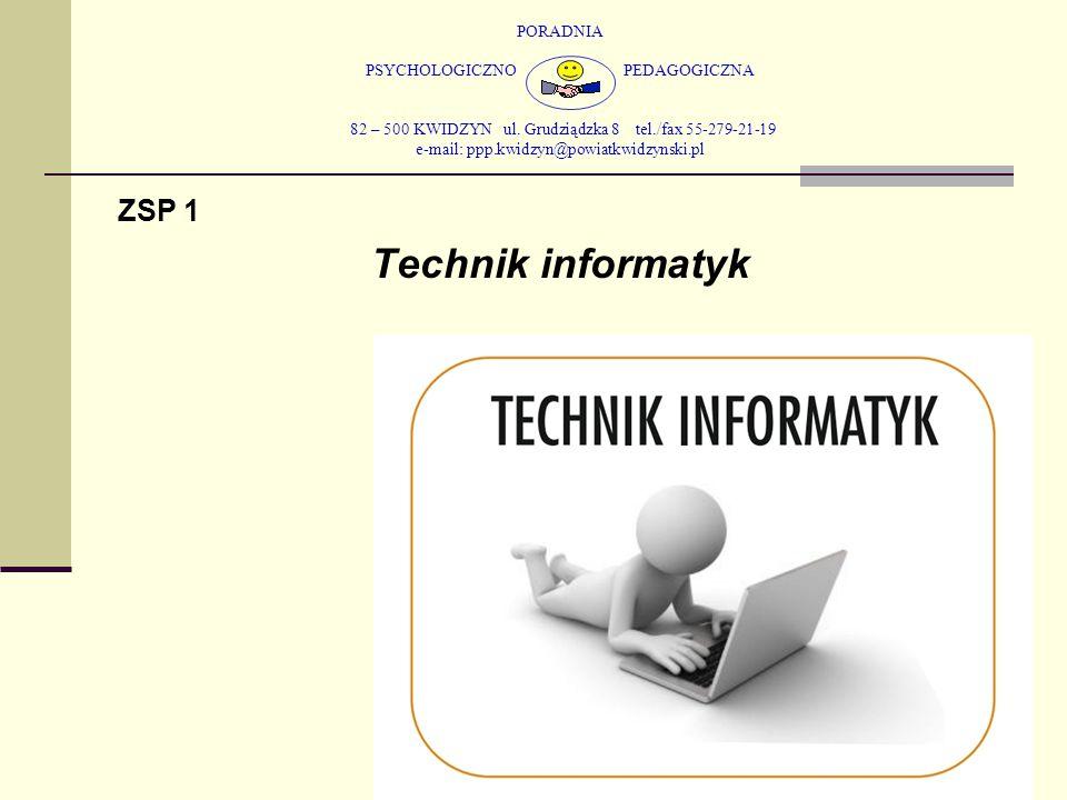 PORADNIA PSYCHOLOGICZNO PEDAGOGICZNA 82 – 500 KWIDZYN ul. Grudziądzka 8 tel./fax 55-279-21-19 e-mail: ppp.kwidzyn@powiatkwidzynski.pl ZSP 1 Technik in