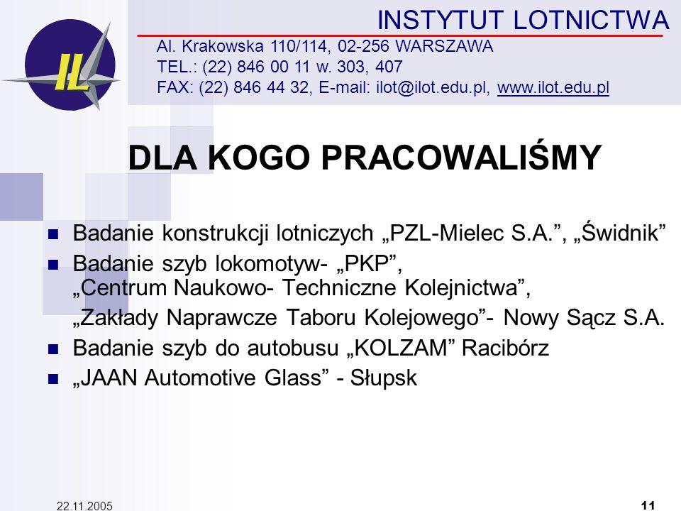 22.11.2005 11 INSTYTUT LOTNICTWA Al. Krakowska 110/114, 02-256 WARSZAWA TEL.: (22) 846 00 11 w.