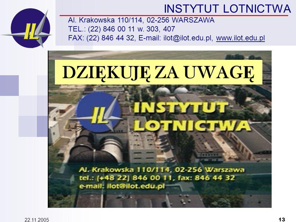 22.11.2005 13 INSTYTUT LOTNICTWA Al. Krakowska 110/114, 02-256 WARSZAWA TEL.: (22) 846 00 11 w.