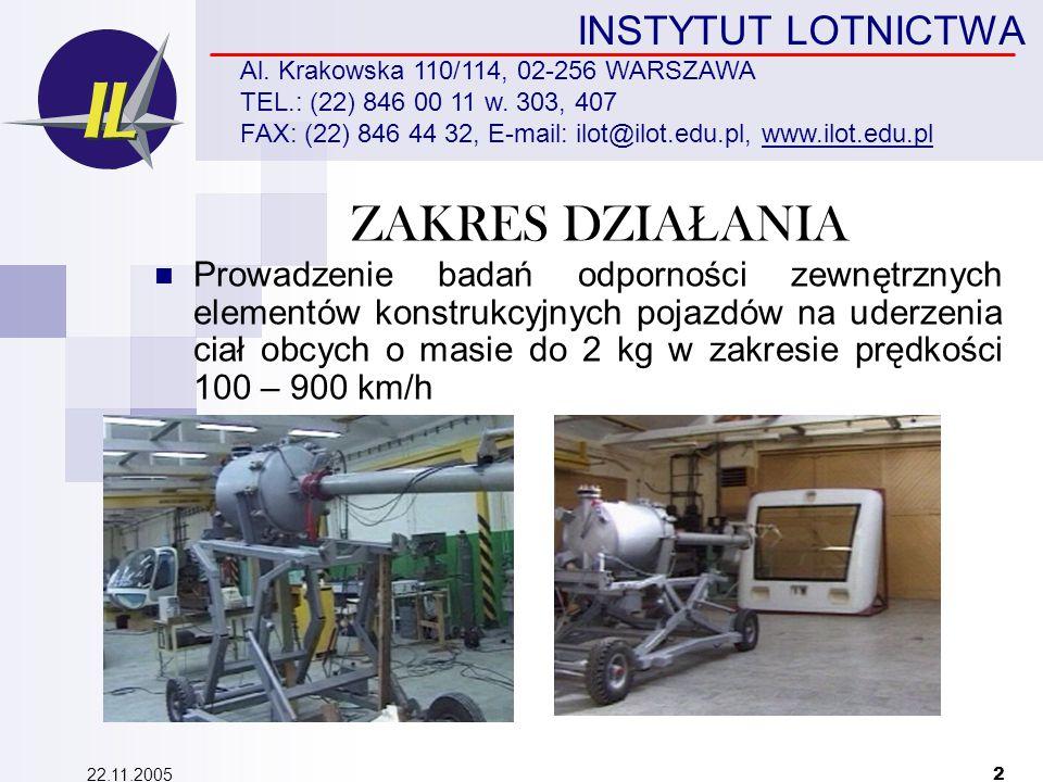 22.11.2005 2 INSTYTUT LOTNICTWA Al. Krakowska 110/114, 02-256 WARSZAWA TEL.: (22) 846 00 11 w.