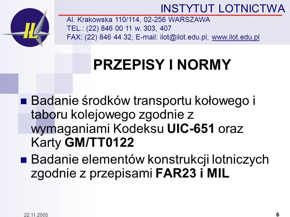 22.11.2005 5 INSTYTUT LOTNICTWA Al.Krakowska 110/114, 02-256 WARSZAWA TEL.: (22) 846 00 11 w.