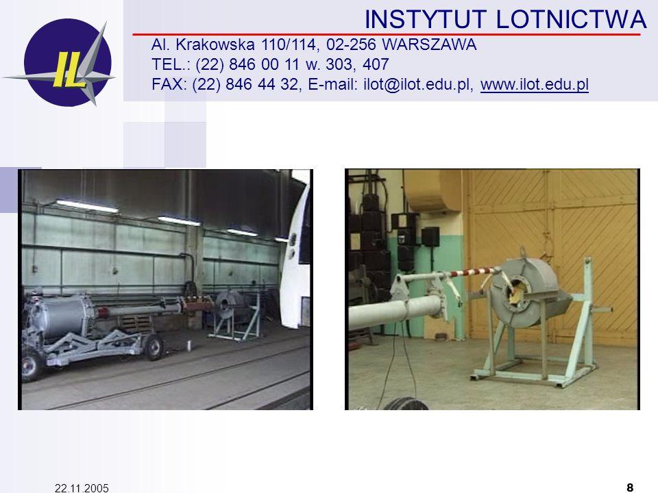 22.11.2005 8 INSTYTUT LOTNICTWA Al. Krakowska 110/114, 02-256 WARSZAWA TEL.: (22) 846 00 11 w.