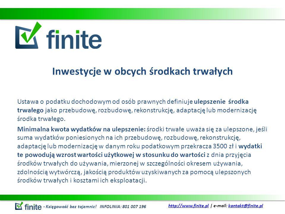 Inwestycje w obcych środkach trwałych c.d.