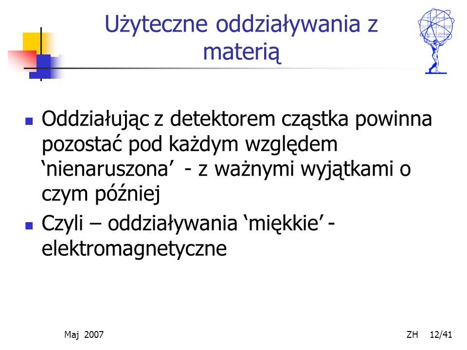 Maj 2007 ZH 12/41 Użyteczne oddziaływania z materią Oddziałując z detektorem cząstka powinna pozostać pod każdym względem 'nienaruszona' - z ważnymi w