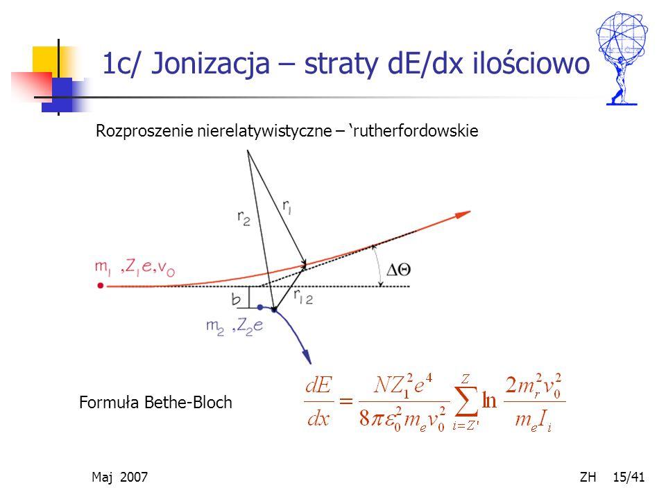 Maj 2007 ZH 15/41 1c/ Jonizacja – straty dE/dx ilościowo Formuła Bethe-Bloch Rozproszenie nierelatywistyczne – 'rutherfordowskie