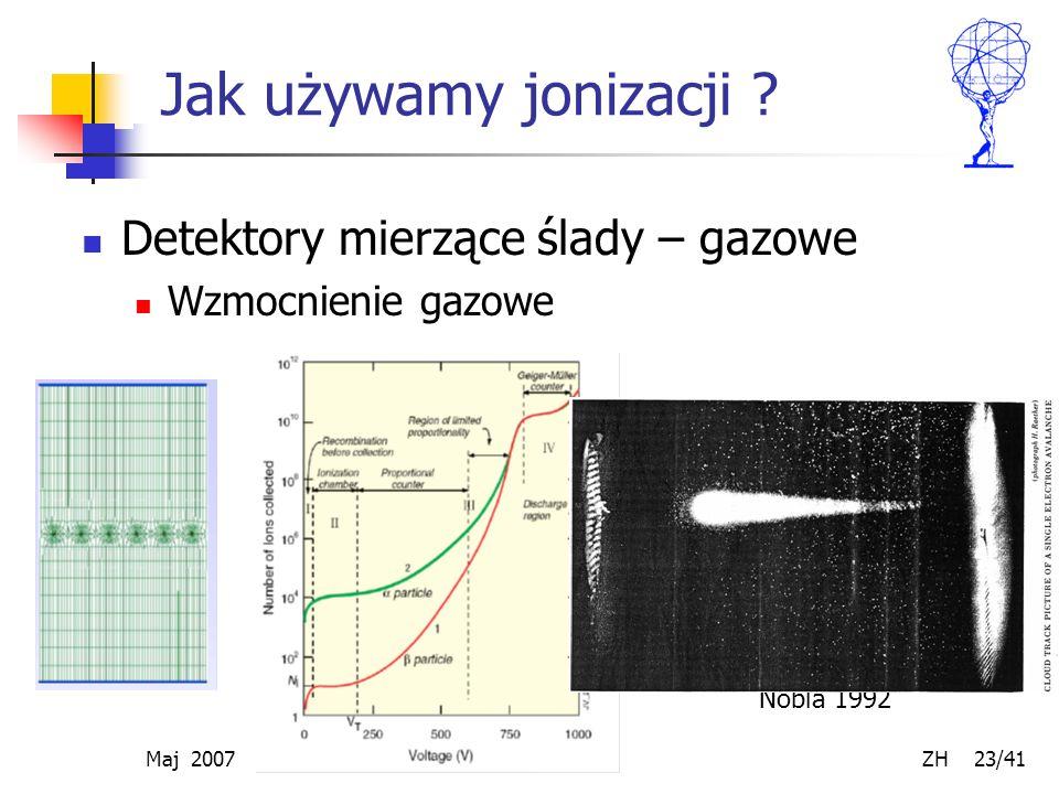 Maj 2007 ZH 23/41 Jak używamy jonizacji ? Detektory mierzące ślady – gazowe Wzmocnienie gazowe MWPC – G. Charpak – nagroda Nobla 1992