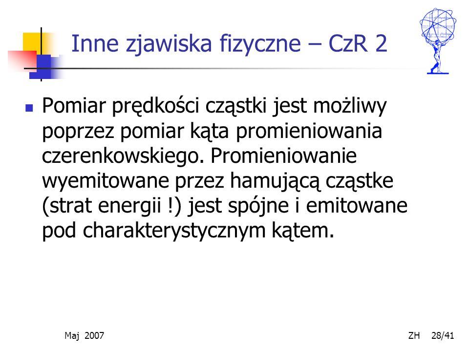 Maj 2007 ZH 28/41 Inne zjawiska fizyczne – CzR 2 Pomiar prędkości cząstki jest możliwy poprzez pomiar kąta promieniowania czerenkowskiego. Promieniowa