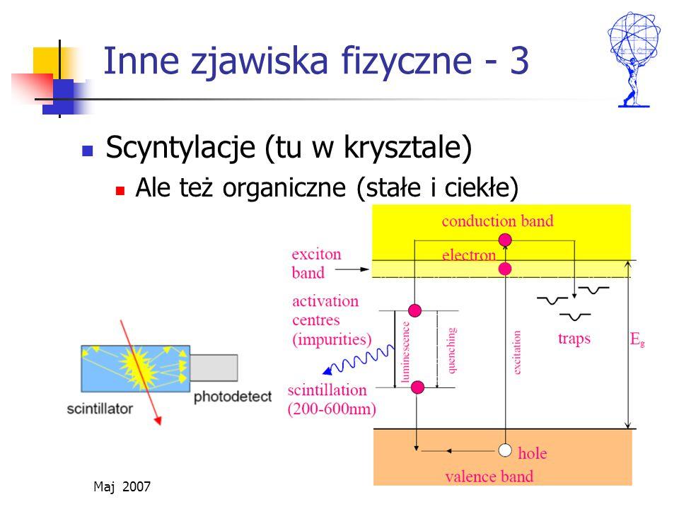 Maj 2007 ZH 31/41 Inne zjawiska fizyczne - 3 Scyntylacje (tu w krysztale) Ale też organiczne (stałe i ciekłe)