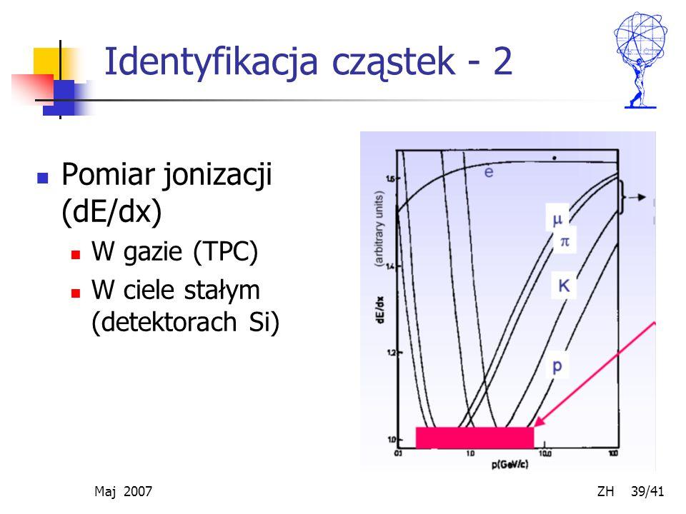 Maj 2007 ZH 39/41 Identyfikacja cząstek - 2 Pomiar jonizacji (dE/dx) W gazie (TPC) W ciele stałym (detektorach Si)