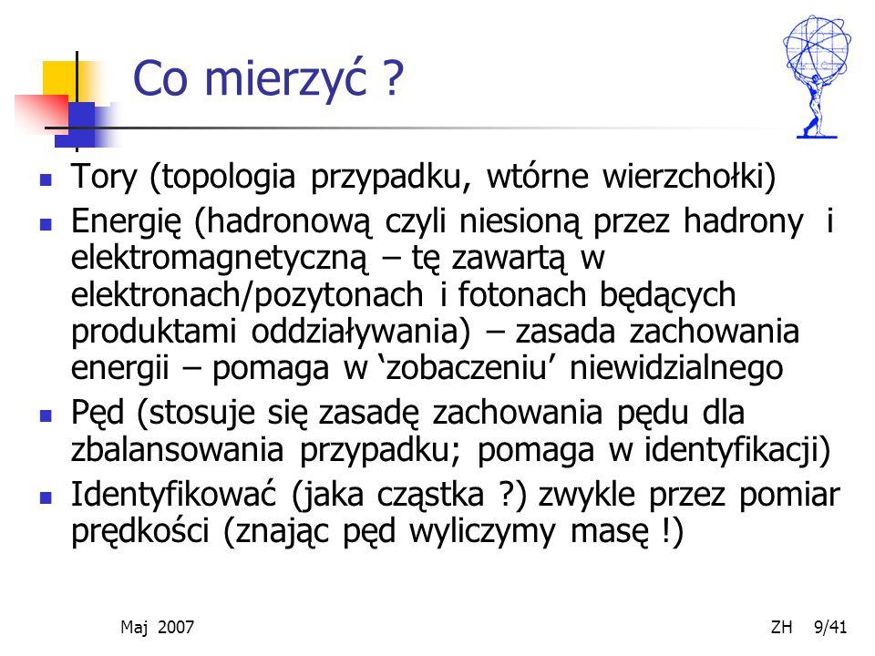 Maj 2007 ZH 9/41 Co mierzyć ? Tory (topologia przypadku, wtórne wierzchołki) Energię (hadronową czyli niesioną przez hadrony i elektromagnetyczną – tę