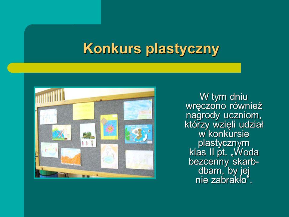 Konkurs plastyczny Konkurs plastyczny W tym dniu wręczono również nagrody uczniom, którzy wzięli udział w konkursie plastycznym klas II pt.