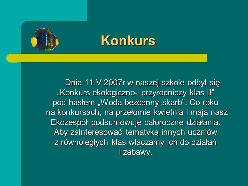 """Konkurs Dnia 11 V 2007r w naszej szkole odbył się """"Konkurs ekologiczno- przyrodniczy klas II pod hasłem """"Woda bezcenny skarb ."""
