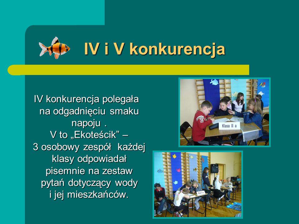 IV i V konkurencja IV konkurencja polegała na odgadnięciu smaku napoju.