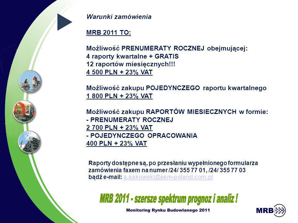 Warunki zamówienia MRB 2011 TO: Możliwość PRENUMERATY ROCZNEJ obejmującej: 4 raporty kwartalne + GRATIS 12 raportów miesięcznych!!! 4 500 PLN + 23% VA