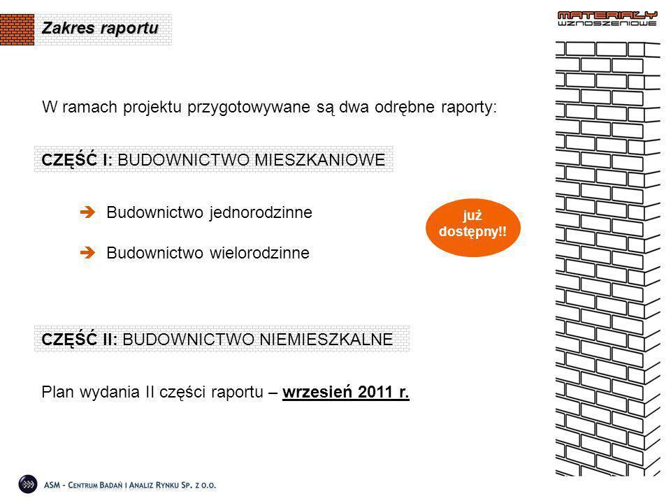 Zakres raportu CZĘŚĆ I: BUDOWNICTWO MIESZKANIOWE  Budownictwo jednorodzinne  Budownictwo wielorodzinne CZĘŚĆ II: BUDOWNICTWO NIEMIESZKALNE już dostę