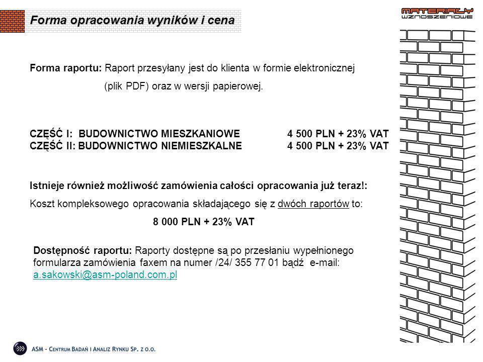 Forma raportu: Raport przesyłany jest do klienta w formie elektronicznej (plik PDF) oraz w wersji papierowej.