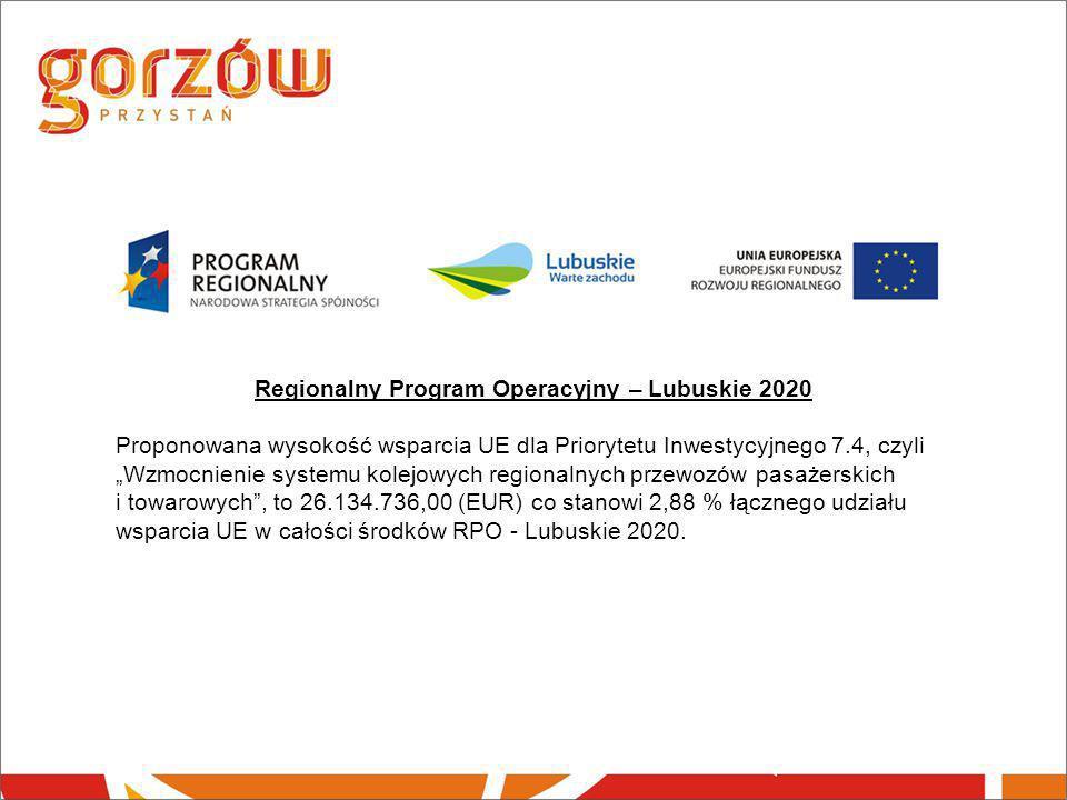 """Regionalny Program Operacyjny – Lubuskie 2020 Proponowana wysokość wsparcia UE dla Priorytetu Inwestycyjnego 7.4, czyli """"Wzmocnienie systemu kolejowyc"""