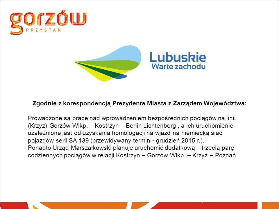 Zgodnie z korespondencją Prezydenta Miasta z Zarządem Województwa: Prowadzone są prace nad wprowadzeniem bezpośrednich pociągów na linii (Krzyż) Gorzó