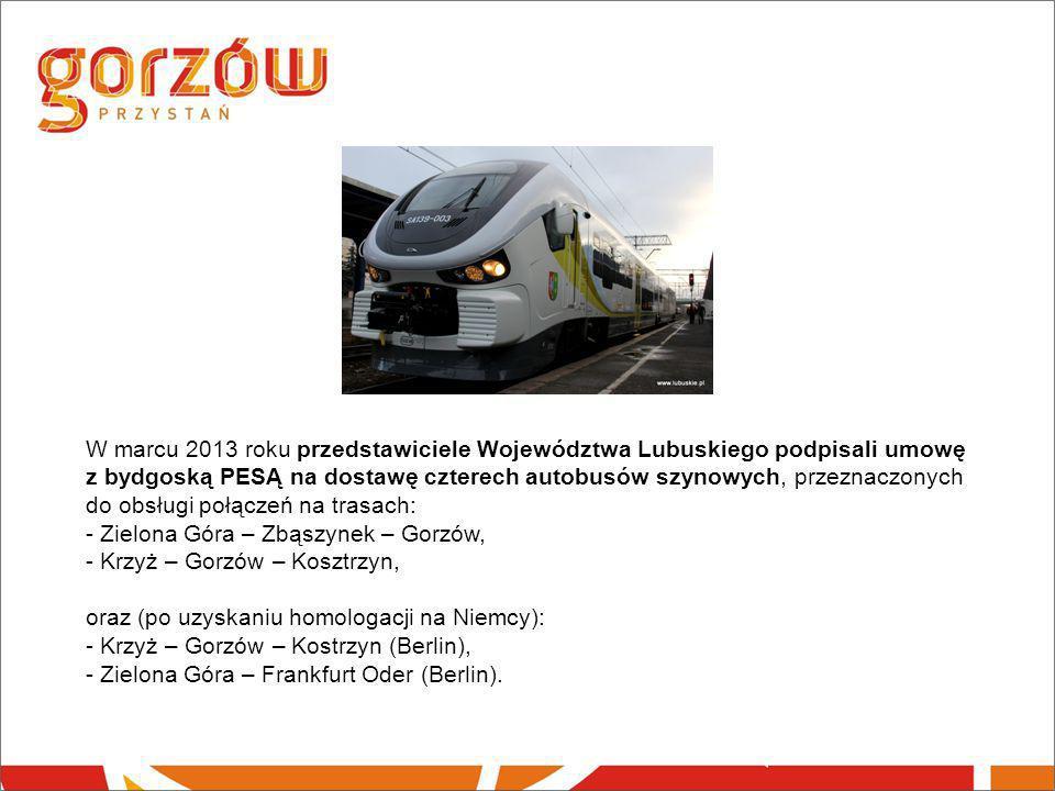 W marcu 2013 roku przedstawiciele Województwa Lubuskiego podpisali umowę z bydgoską PESĄ na dostawę czterech autobusów szynowych, przeznaczonych do ob