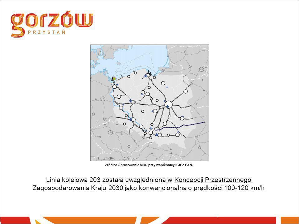 Źródło: Opracowanie MRR przy współpracy IGiPZ PAN. Linia kolejowa 203 została uwzględniona w Koncepcji Przestrzennego Zagospodarowania Kraju 2030 jako