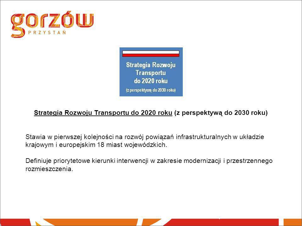 Strategia Rozwoju Transportu do 2020 roku (z perspektywą do 2030 roku) Stawia w pierwszej kolejności na rozwój powiązań infrastrukturalnych w układzie