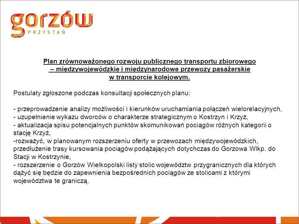 Plan zrównoważonego rozwoju publicznego transportu zbiorowego – międzywojewódzkie i międzynarodowe przewozy pasażerskie w transporcie kolejowym. Postu
