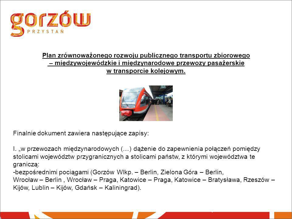 Plan zrównoważonego rozwoju publicznego transportu zbiorowego – międzywojewódzkie i międzynarodowe przewozy pasażerskie w transporcie kolejowym.