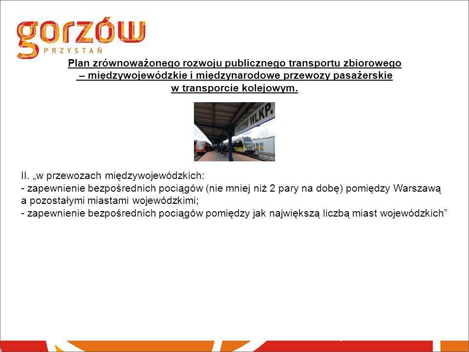 """Plan zrównoważonego rozwoju publicznego transportu zbiorowego – międzywojewódzkie i międzynarodowe przewozy pasażerskie w transporcie kolejowym. II. """""""