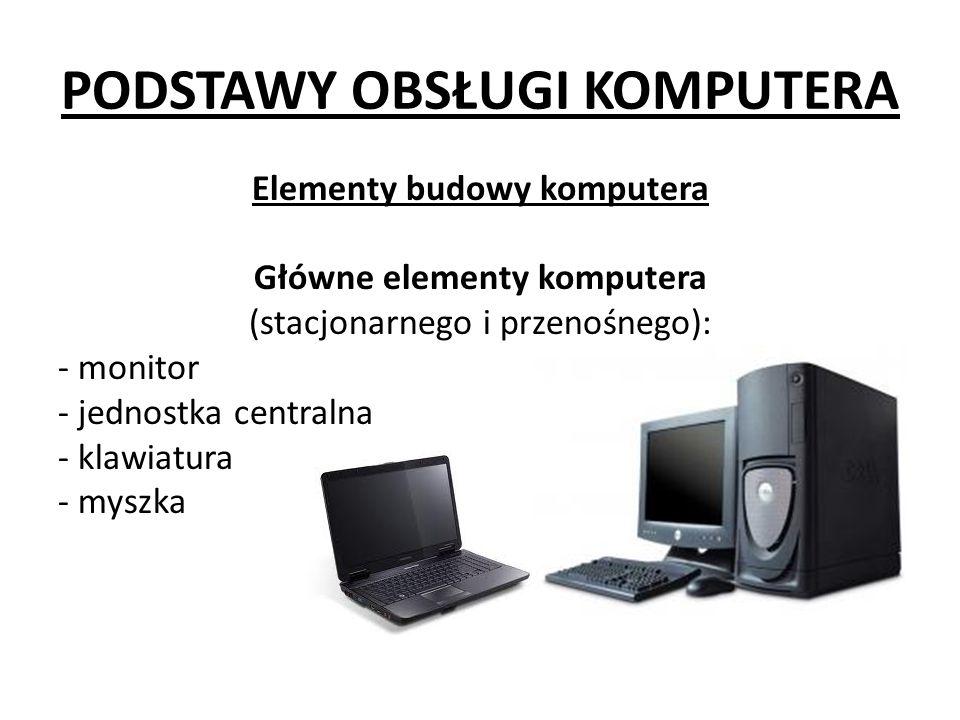 PODSTAWY OBSŁUGI KOMPUTERA Elementy budowy komputera Główne elementy komputera (stacjonarnego i przenośnego): - monitor - jednostka centralna - klawiatura - myszka