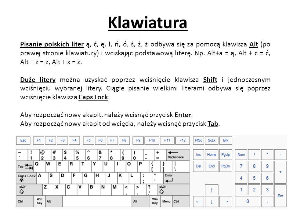 Klawiatura Pisanie polskich liter ą, ć, ę, ł, ń, ó, ś, ź, ż odbywa się za pomocą klawisza Alt (po prawej stronie klawiatury) i wciskając podstawową literę.