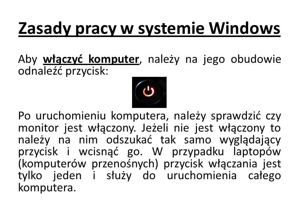 Zasady pracy w systemie Windows Aby włączyć komputer, należy na jego obudowie odnaleźć przycisk: Po uruchomieniu komputera, należy sprawdzić czy monitor jest włączony.