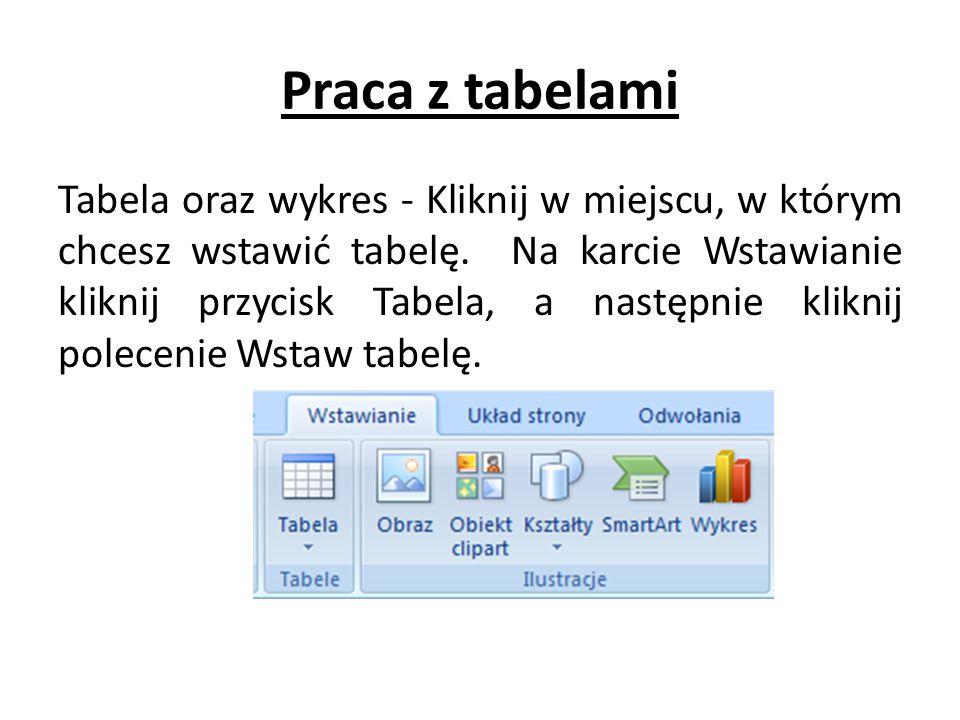 Praca z tabelami Tabela oraz wykres - Kliknij w miejscu, w którym chcesz wstawić tabelę. Na karcie Wstawianie kliknij przycisk Tabela, a następnie kli