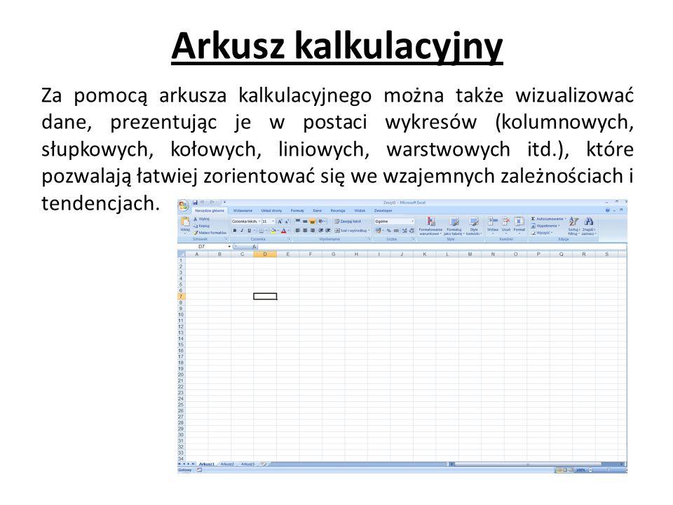 Arkusz kalkulacyjny Za pomocą arkusza kalkulacyjnego można także wizualizować dane, prezentując je w postaci wykresów (kolumnowych, słupkowych, kołowych, liniowych, warstwowych itd.), które pozwalają łatwiej zorientować się we wzajemnych zależnościach i tendencjach.