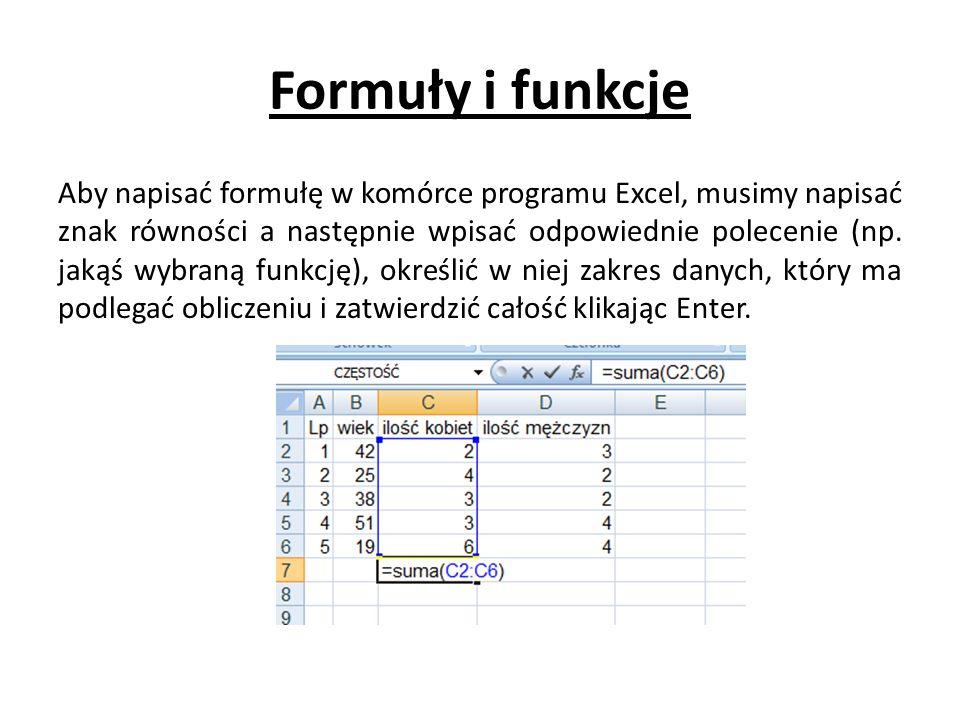 Formuły i funkcje Aby napisać formułę w komórce programu Excel, musimy napisać znak równości a następnie wpisać odpowiednie polecenie (np.