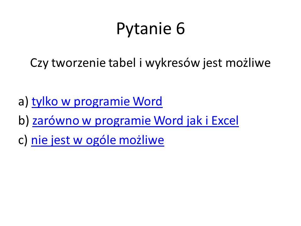 Pytanie 6 Czy tworzenie tabel i wykresów jest możliwe a) tylko w programie Wordtylko w programie Word b) zarówno w programie Word jak i Excelzarówno w programie Word jak i Excel c) nie jest w ogóle możliwenie jest w ogóle możliwe