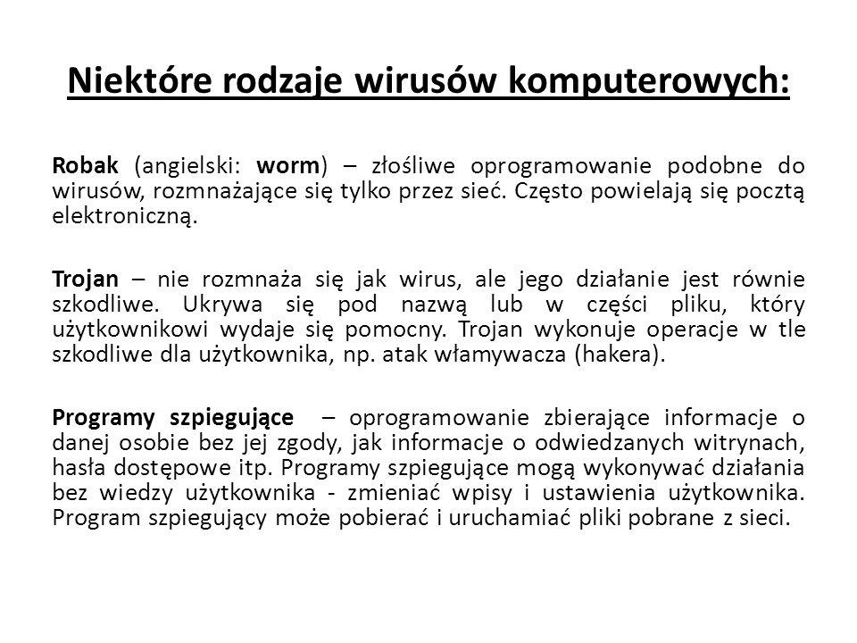 Niektóre rodzaje wirusów komputerowych: Robak (angielski: worm) – złośliwe oprogramowanie podobne do wirusów, rozmnażające się tylko przez sieć. Częst