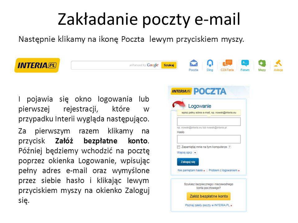 Zakładanie poczty e-mail Następnie klikamy na ikonę Poczta I pojawia się okno logowania lub pierwszej rejestracji, które w przypadku Interii wygląda n