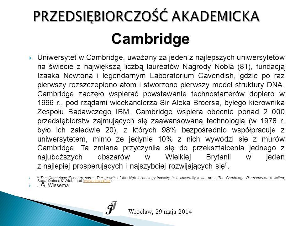 PRZEDSIĘBIORCZOŚĆ AKADEMICKA Wrocław, 29 maja 2014 Cambridge  Uniwersytet w Cambridge, uważany za jeden z najlepszych uniwersytetów na świecie z największą liczbą laureatów Nagrody Nobla (81), fundacją Izaaka Newtona i legendarnym Laboratorium Cavendish, gdzie po raz pierwszy rozszczepiono atom i stworzono pierwszy model struktury DNA.