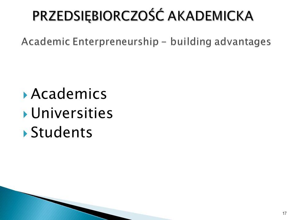  Academics  Universities  Students 17