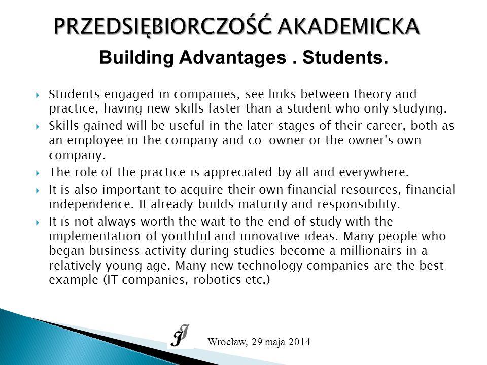 PRZEDSIĘBIORCZOŚĆ AKADEMICKA Wrocław, 29 maja 2014 Building Advantages.