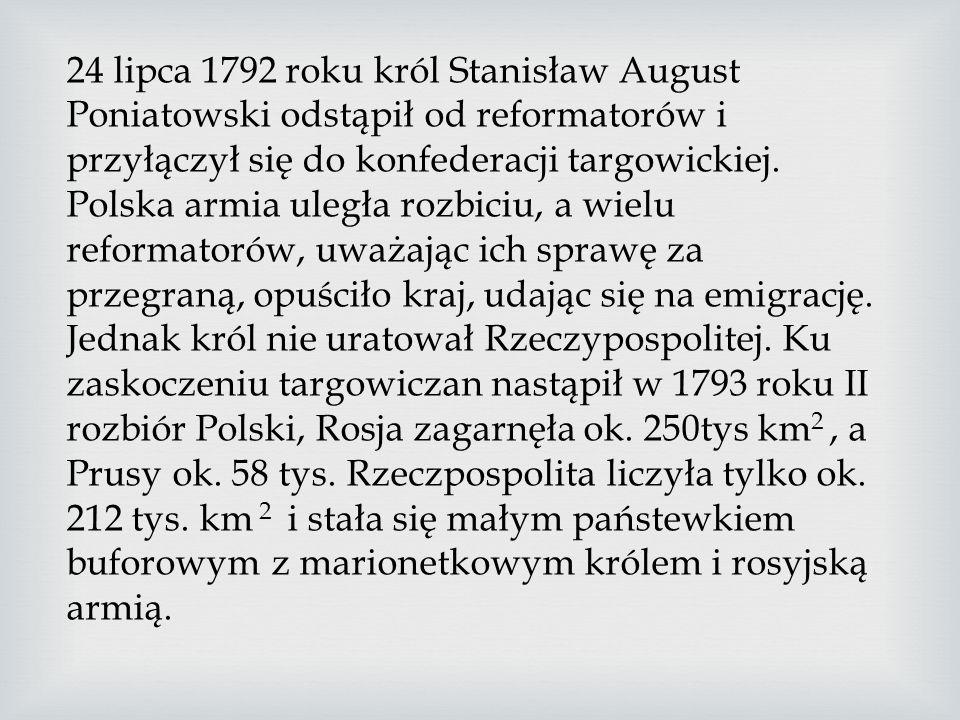 Król Polski i reformatorzy mogli wystawić tylko 37-tysięczną armię, którą w dużej mierze stanowili niedoświadczeni rekruci. Polska armia pod rozkazami