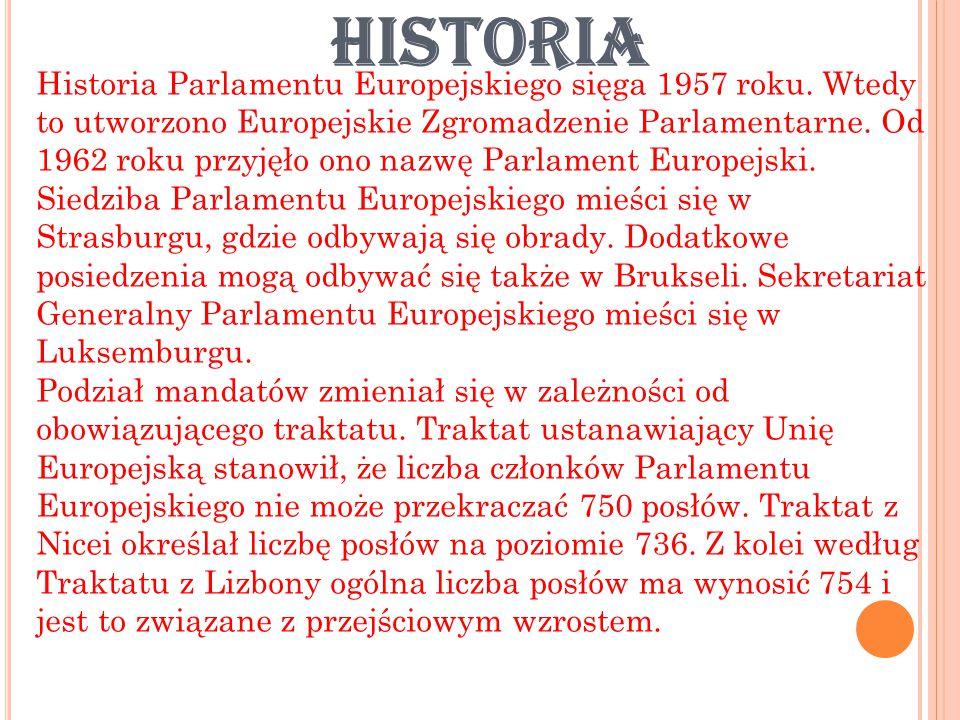 HISTORIA Historia Parlamentu Europejskiego sięga 1957 roku.