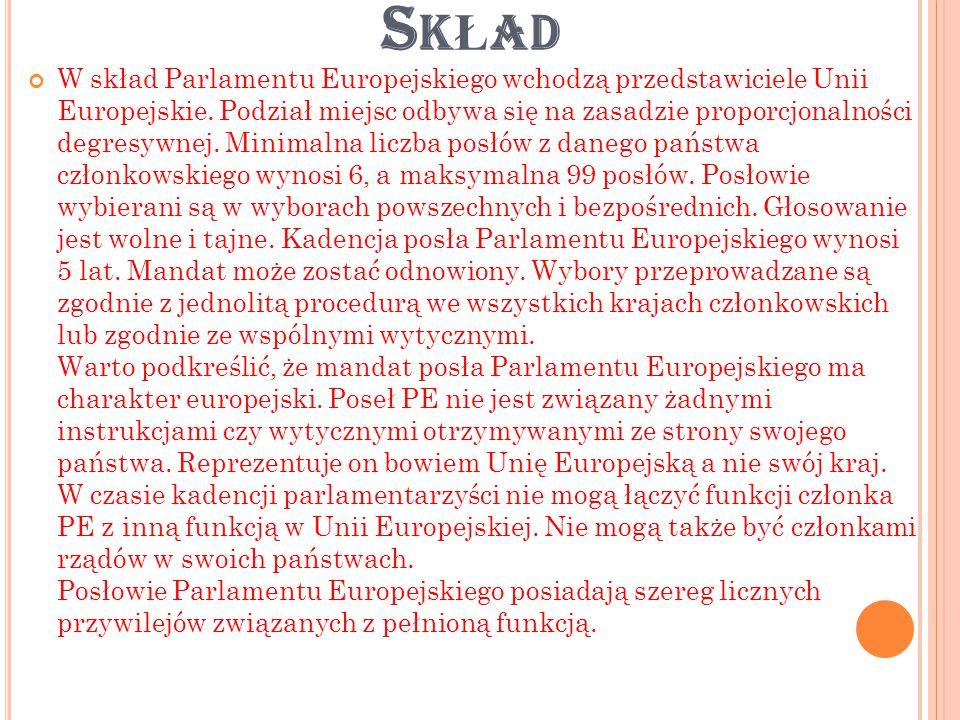 S TRUKTURA PE 1) Organy kierownicze - Przewodniczący Parlamentu Europejskiego – jest on wybierany w tajnym głosowaniu.